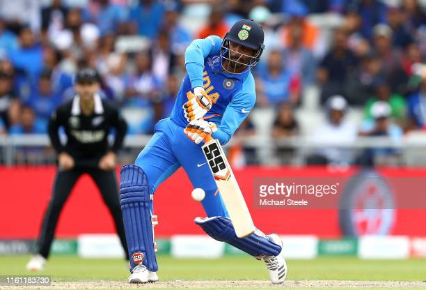 Ravindra Jadeja of India hits a six during resumption of the SemiFinal match of the ICC Cricket World Cup 2019 between India and New Zealand after...