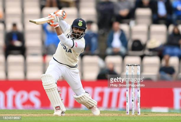 Ravindra Jadeja of India hits out during Day 3 of the ICC World Test Championship Final between India and New Zealand at The Hampshire Bowl on June...