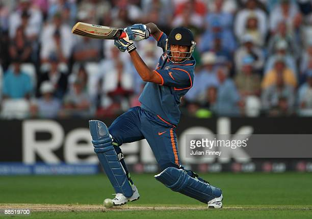 Ravindra Jadeja of India hits out during the ICC World Twenty20 Super Eights match between South Africa and India at Trent Bridge on June 16 2009 in...