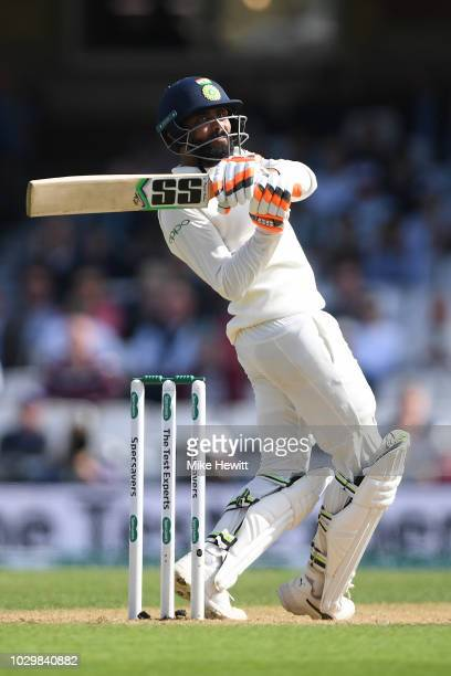 Ravindra Jadeja of India hits out during the Specsavers 5th Test Day Three between England and India at The Kia Oval on September 9 2018 in London...