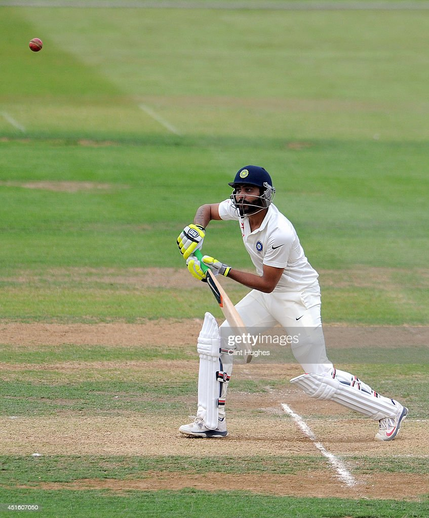 Ravindra Jadeja of India in action during day two of the tour match between Derbyshire and India at The 3aaa County Ground on July 2, 2014 in Derby, England.