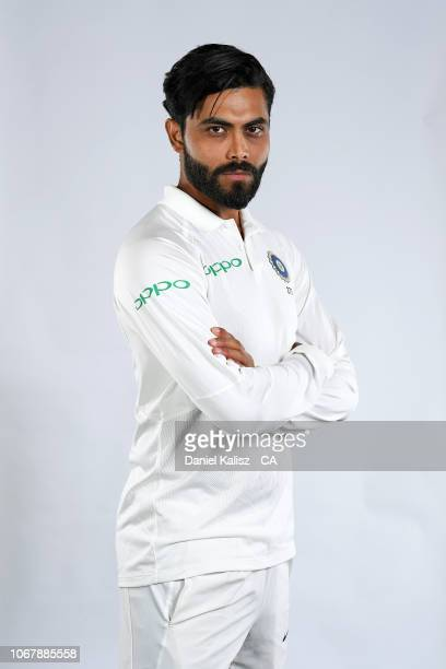 Ravindra Jadeja of India poses during the India Test squad headshots session at Adelaide Oval on December 3 2018 in Adelaide Australia
