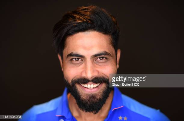 Ravindra Jadeja of India poses for a portrait prior to the ICC Cricket World Cup 2019 at the Plaza Hotel on May 24 2019 in London England
