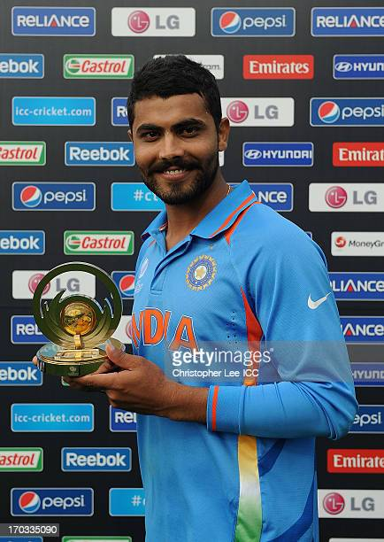 Ravindra Jadeja of India poses for the camera with his Man of the Match award during the ICC Champions Trophy Group B match between India and West...