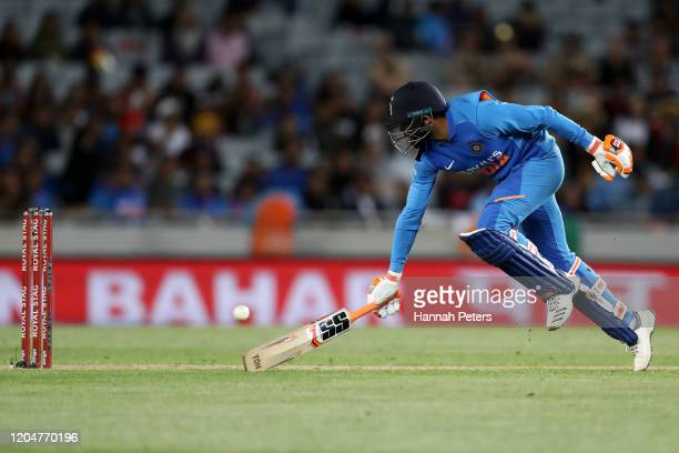 Ravindra Jadeja of India runs back into his crease during game two of the One Day International Series between New Zealand and India at at Eden Park...