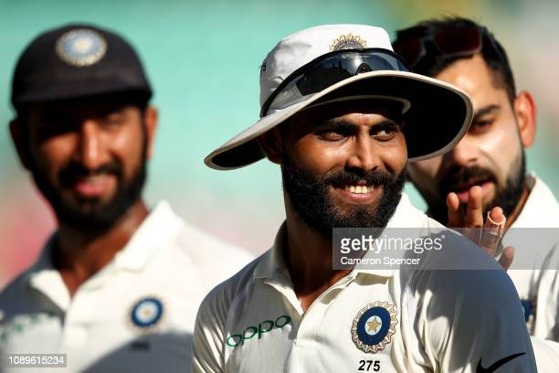 Ravindra Jadeja of India smiles as he leaves the field at the end of play during day two of the Fourth Test match in the series between Australia and...