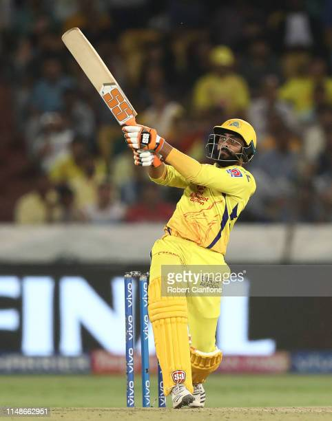 Ravindra Jadeja of the Chennai Super Kings bats during the Indian Premier League Final match between the the Mumbai Indians and Chennai Super Kings...