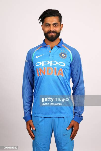 Ravindra Jadeja poses during the India Men's ODI Headshots Session on January 09 2019 in Sydney Australia