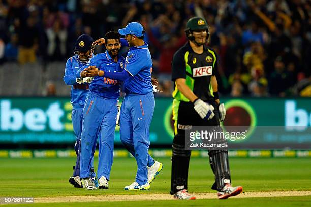 Ravindrasinh Jadeja of India celebrates after the dismissal of Shane Watson of Australia during the International Twenty20 match between Australia...