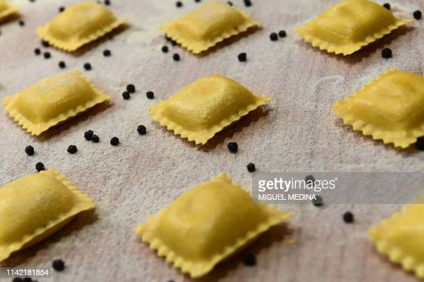 Ravioli pasta are displayed at an exhibitor's stand on May 8 2019 at the TUTTOFOOD fair the international B2B show dedicated to food and beverage and...