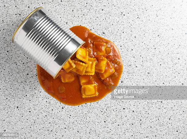 Ravioli spilling from tin can