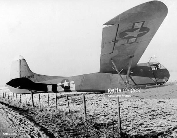 Ravitaillement en vivres et en médicaments par un planeur américain à Bastogne Belgique en 1944