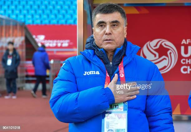 Ravshan Khaydarov head coach of Uzbekistan looks on during the AFC U23 Championship Group A match between Uzbekistan and China at Changzhou Olympic...