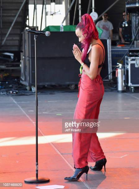 Ravyn Lenae performs on Downtown Stage during the 2018 Life Is Beautiful Festival on September 21 2018 in Las Vegas Nevada