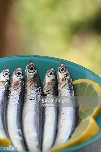 Raw Anchovies with Lemon Slices