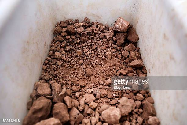 Raw bauxite used to make aluminium is seen at the aluminium plant at the Ras Al Khair Industrial City operated by the Saudi Arabian Mining Co in Ras...