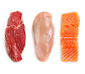 Raw Beef Chicken and Fish Isolated Top View