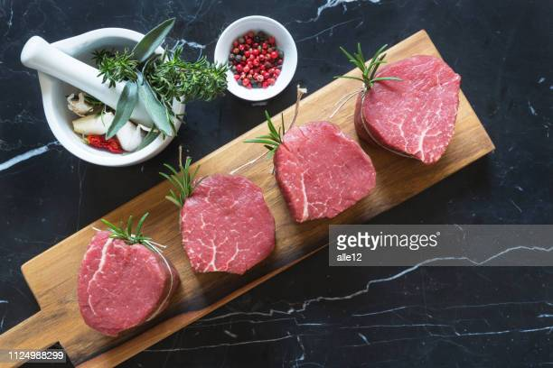 raw beef medallions - raw food stock pictures, royalty-free photos & images