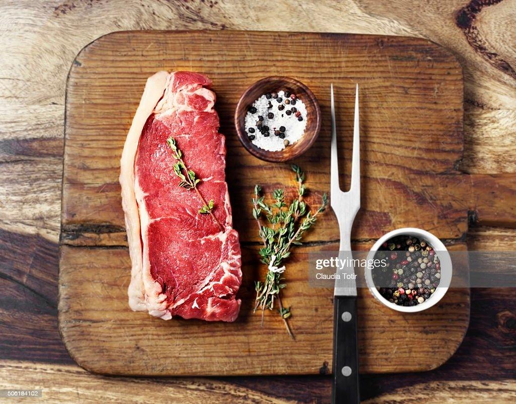 Raw beef steak : Stock Photo
