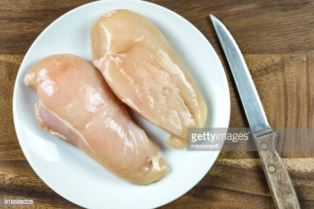 raw chicken breast on white plate - chicken meat stock pictures, royalty-free photos & images