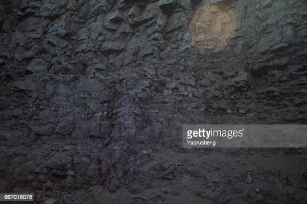 raw coal mountain wall,pingshuo,china - coal mining stock photos and pictures