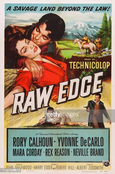 Raw Edge poster US poster top from left Yvonne DeCarlo Rory Calhoun middle from left Mara Corday Rex Reason 1956