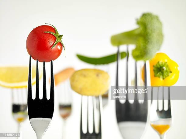 Materias primas alimentos en horquillas (húmedo)