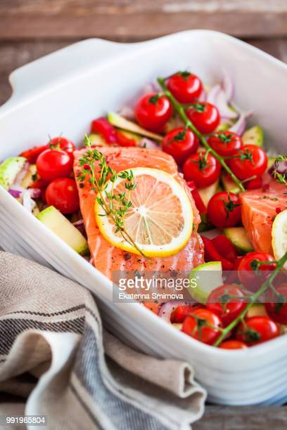 raw fresh delicious salmon and vegetables - omega 3 stock pictures, royalty-free photos & images
