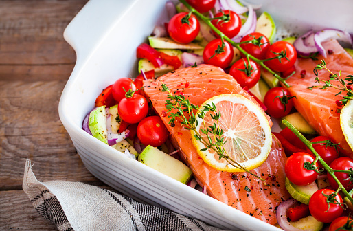 Raw fresh delicious salmon and vegetables - gettyimageskorea