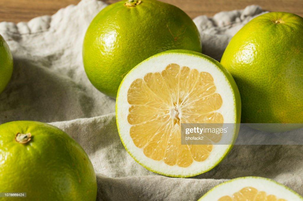 Raw Green Organic Golden Pomelo : Stock Photo