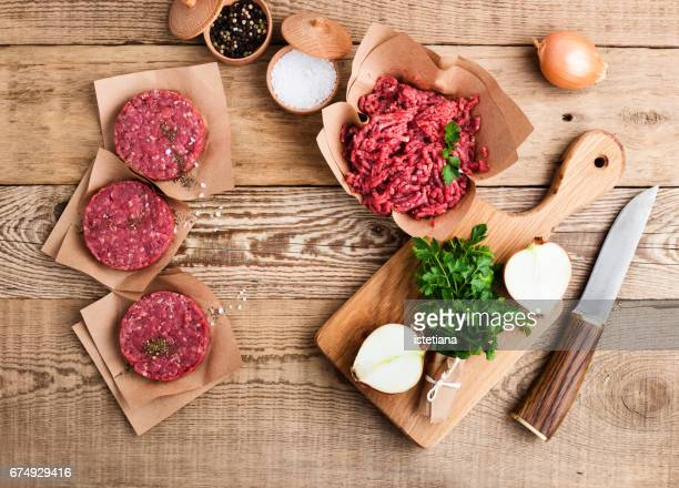 Raw ground beef meat and burger steak cutlets