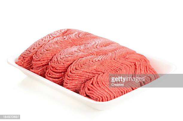 raw ground meat in white styrofoam tray - ground beef stock pictures, royalty-free photos & images