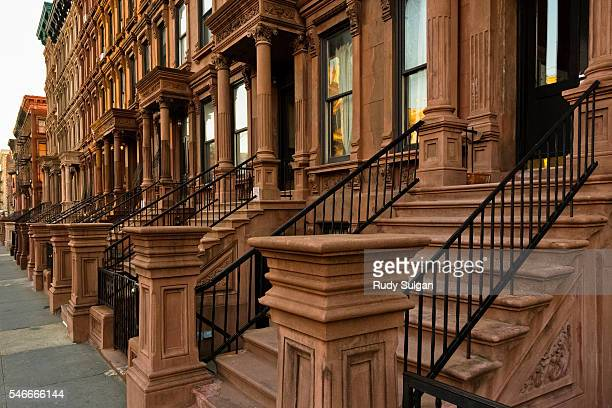 raw houses in harlem - harlem stock pictures, royalty-free photos & images
