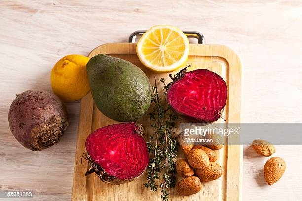 raw ingredients for healthy meal on a cutting board
