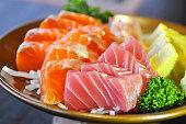 raw mackerel and raw  salmon
