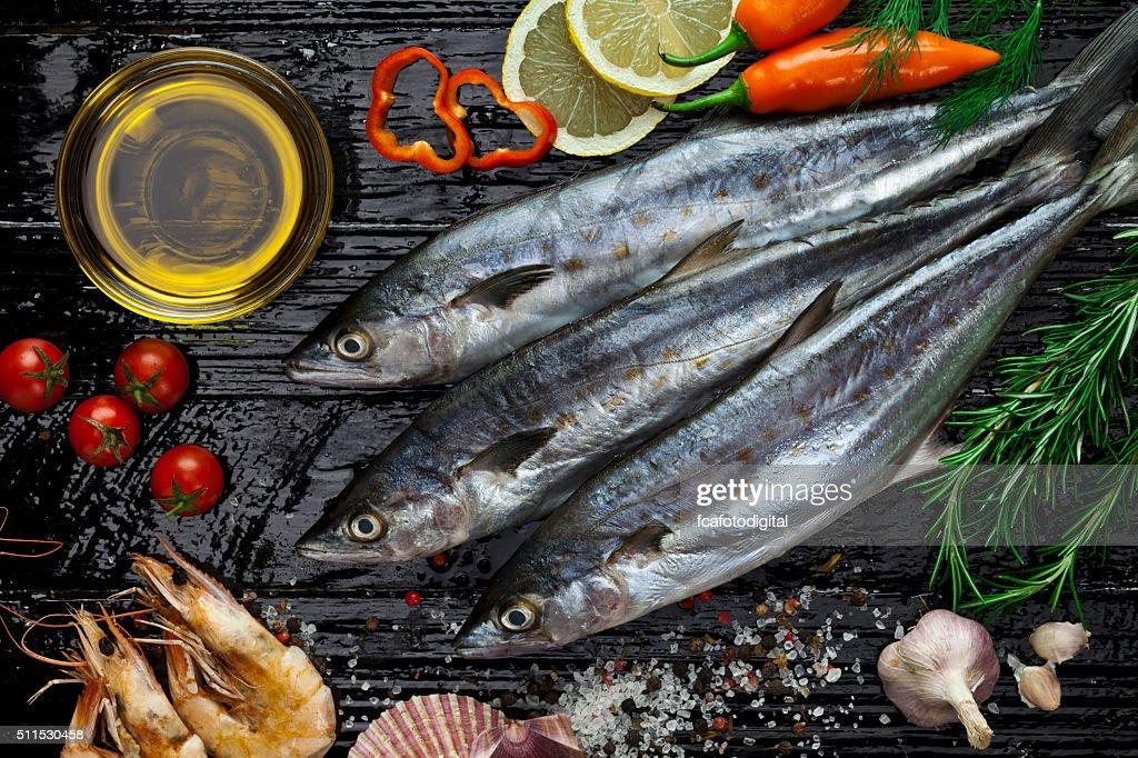 Raw mackerel : Stock Photo