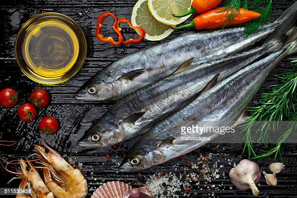 raw mackerel - mackerel stock pictures, royalty-free photos & images