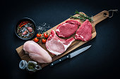 Raw meat assortment - Beef, chicken and pork chops shot from above on dark background
