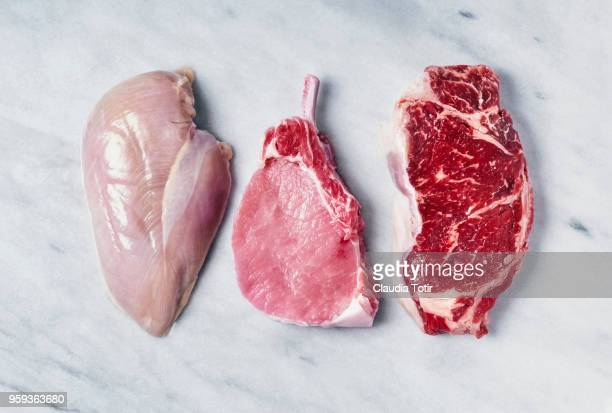 raw meat (chicken breast, pork chop, and beef steak) - raw chicken stock photos and pictures