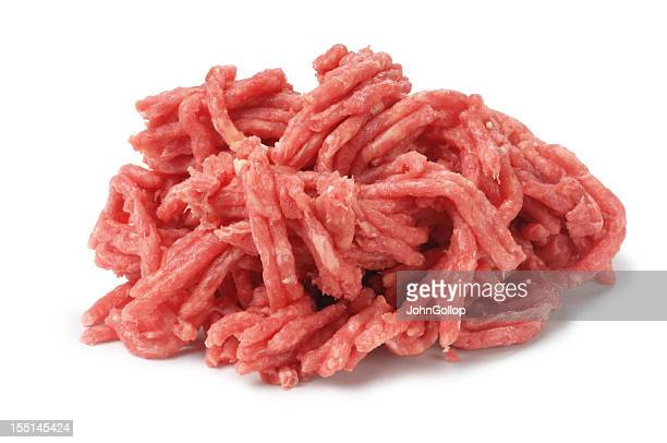 Raw minced beef and a white background