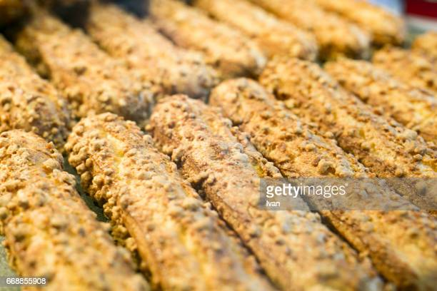 A Raw of French Dessert Delicious Eclairs Pastries