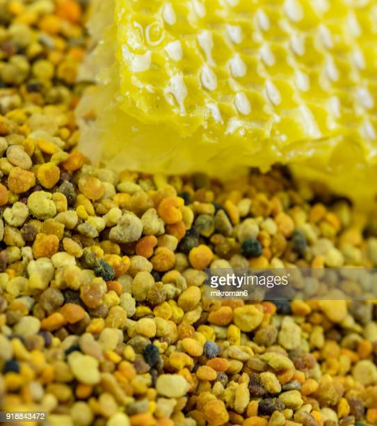 Raw organic bee pollen and honeycomb. Bee pollen granules. Apitherapy