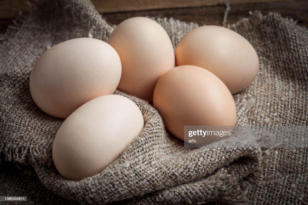 Raw organic farm eggs. : Stock Photo