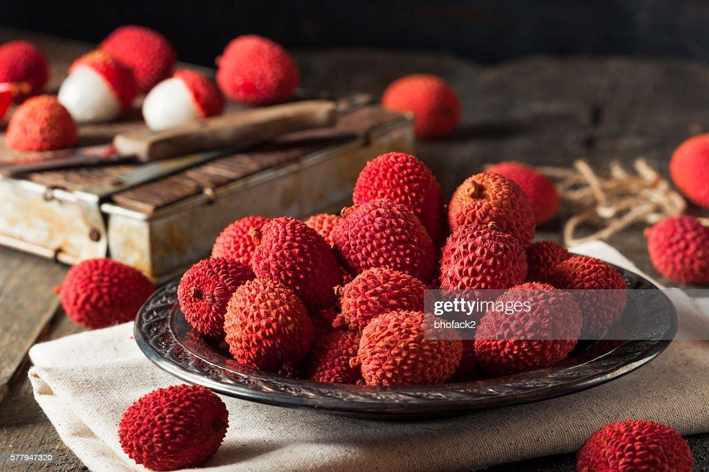 Raw Organic Red Lychee Berries : Stock Photo