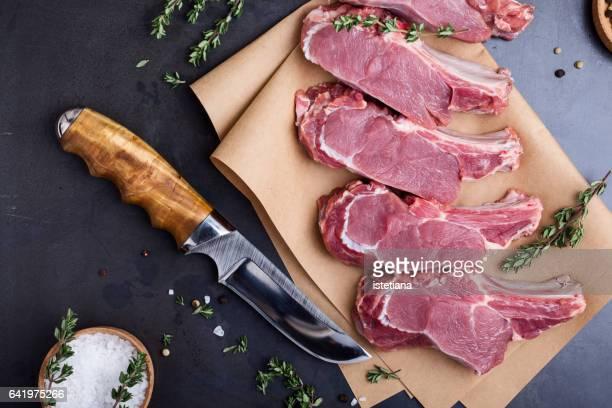 Raw organic veal steaks
