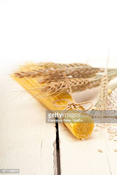 Raw Pasta And Wheat On Table