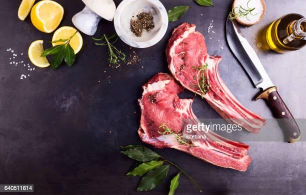 Raw prime rib meat