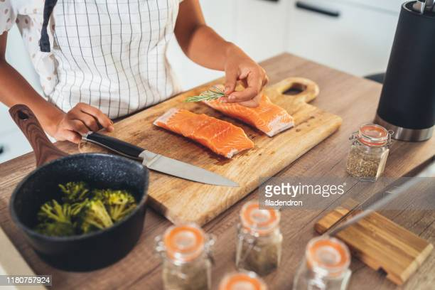 raw salmon fillet - salmon seafood stock pictures, royalty-free photos & images