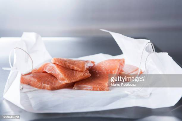 Raw salmon fillets on butcher paper