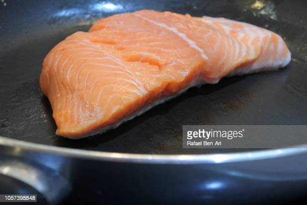 Raw Salmon Fish on a Frying Pan